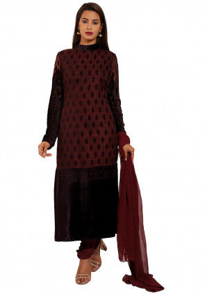 Woven Georgette Brasso Straight Suit in Wine