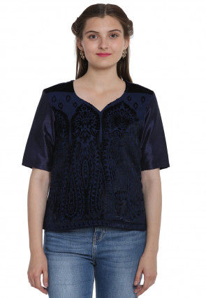 Woven Georgette Brasso Top in Dark Blue