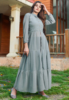 Woven Georgette Dobby Front Slit Tiered Kurta in Grey
