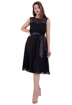 Woven Georgette Fit N Flare Dress in Black