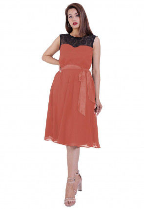 Woven Georgette Fit N Flare Dress in Peach and Black