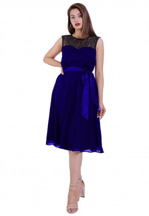 Woven Georgette Fit N Flare Dress in Royal Blue and Black