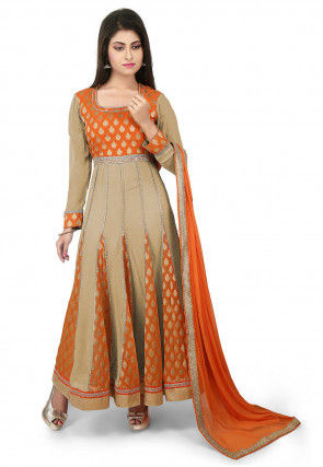 Woven Georgette Jacquard Anarkali Suit in Beige and Orange