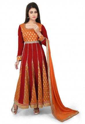 Woven Georgette Jacquard Anarkali Suit in Maroon