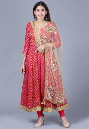 Woven Georgette Jacquard Anarkali Suit in Pink