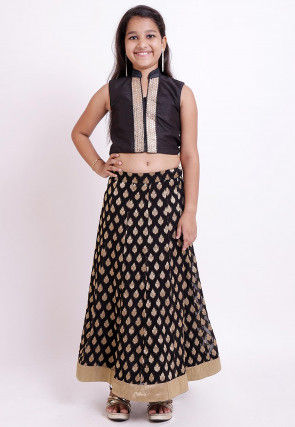 Woven Georgette Jacquard Lehenga in Black