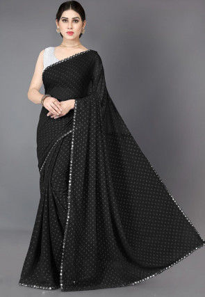 Woven Georgette Jacquard Saree in Black