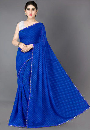 Woven Georgette Jacquard Saree in Royal Blue