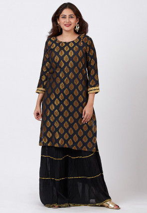 Woven Georgette Jacquard Straight Kurta Set in Black