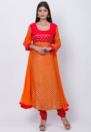 Woven Georgette Jacquard Straight Suit in Orange and Red