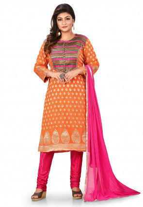 Woven Georgette Jacquard Straight Suit in Orange