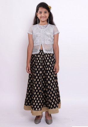 Woven Georgette Jacquard Top N Skirt in Black and Grey