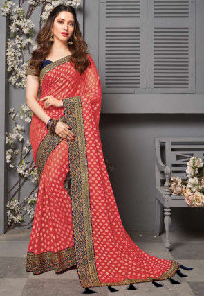 Woven Georgette Jacuqard Saree in Red