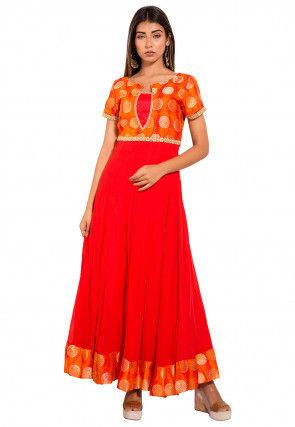 Woven Georgette Kalidar Kurta in Red and Orange