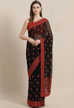 Woven Georgette Saree in Black