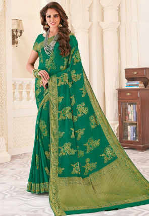 Woven Georgette Saree in Green