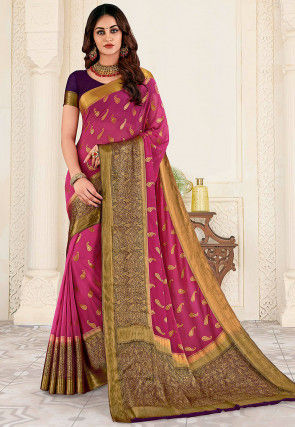 Woven Georgette Saree in Pink