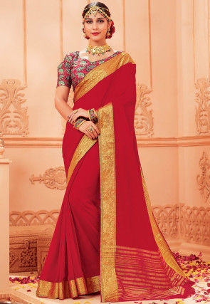 Woven Georgette Saree in Red