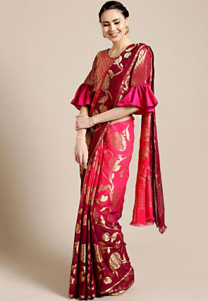 Woven Georgette Saree in Shaded Fuchsia