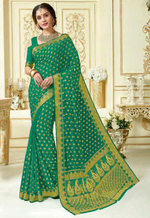 Woven Georgette Saree in Teal Green