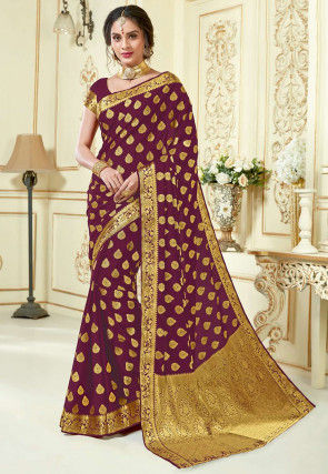 Woven Georgette Saree in Wine