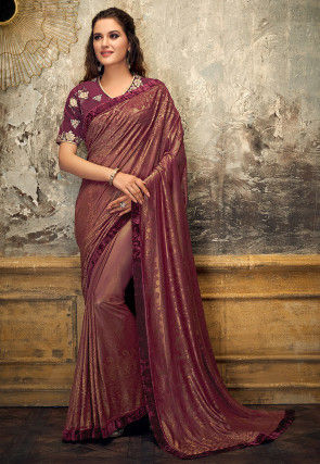 Woven Georgette Shimmer Brasso Saree in Maroon