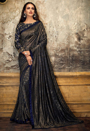 Woven Georgette Shimmer Brasso Saree in Navy Blue