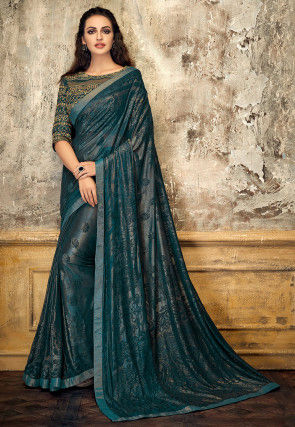 Woven Georgette Shimmer Brasso Saree in Teal Blue
