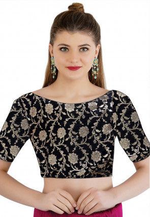 Woven Handloom Cotton Jacquard Blouse in Black