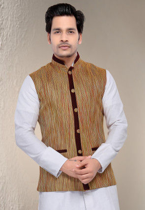 Woven Jute Cotton Nehru Jacket in Brown