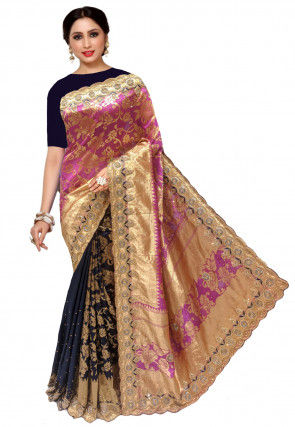 Woven Kanchipuram Saree in Pink and Navy Blue