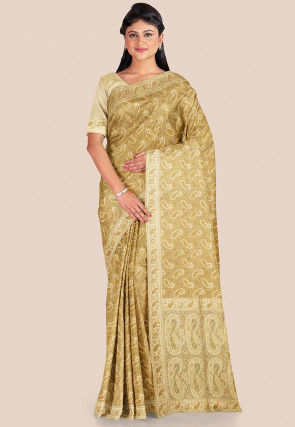 Woven Katan Silk Saree in Beige