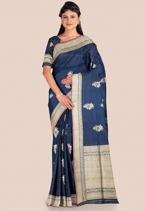 Woven Katan Silk Saree in Dark Blue