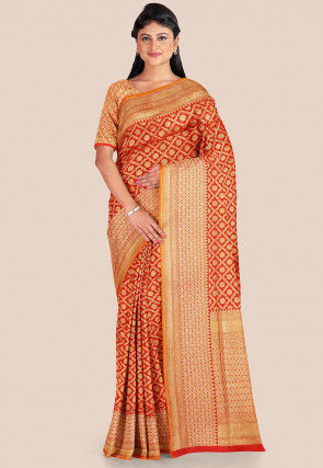Woven Katan Silk Saree in Red