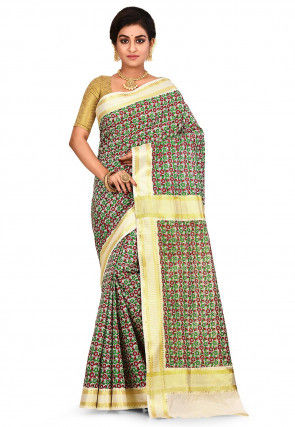 Woven Kerela Kasavu Cotton Saree in Multicolor