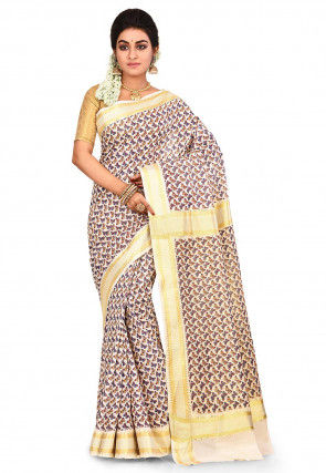 Woven Kerela Kasavu Cotton Saree in Off White and Multicolor
