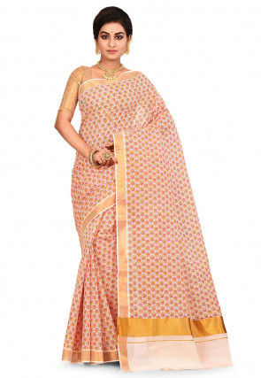 Woven Kerela Kasavu Cotton Saree in Off White