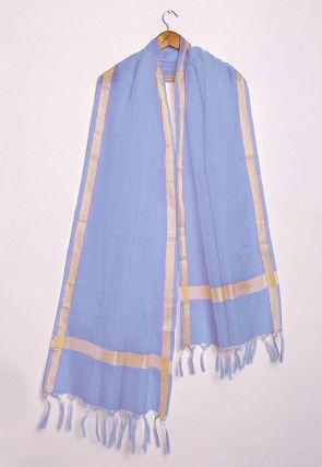 Woven Kota Silk Dupatta in Light Blue
