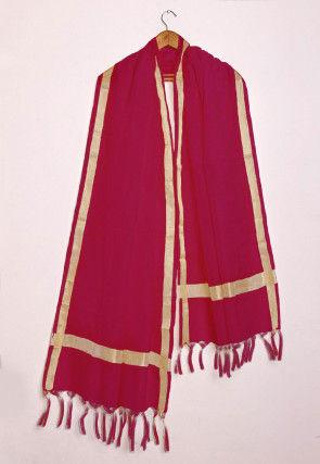 Woven Kota Silk Dupatta in Maroon