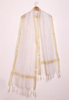 Woven Kota Silk Dupatta in Off White