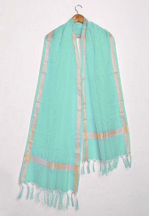 Woven Kota Silk Dupatta in Turquoise
