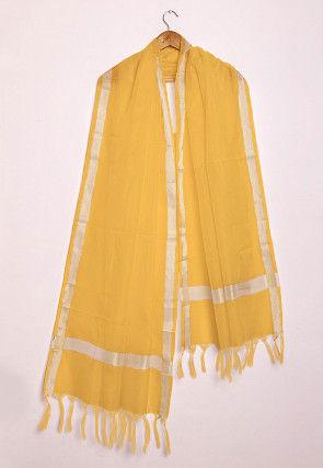 Woven Kota Silk Dupatta in Yellow