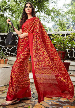 Woven Kota Silk Jacquard Saree in Red