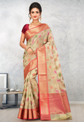 Banarasi Kota Silk Saree in Beige