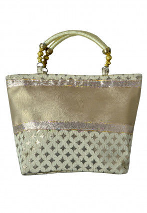 Woven Leather Hand Bag in Golden