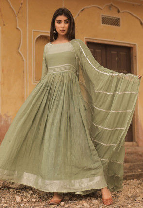 Woven Linen Cotton Abaya Style Suit in Light Olive Green