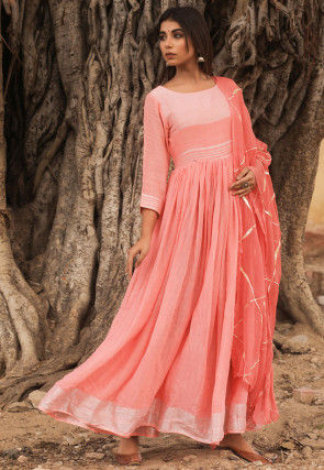 Woven Linen Cotton Abaya Style Suit in Peach