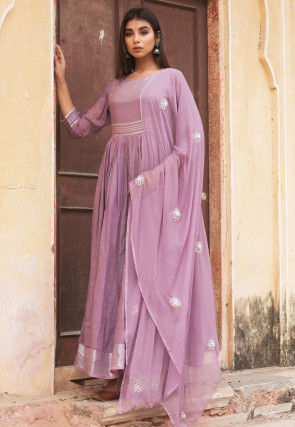 Woven Linen Cotton Abaya Style Suit in Purple