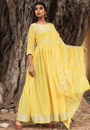 Woven Linen Cotton Abaya Style Suit in Yellow