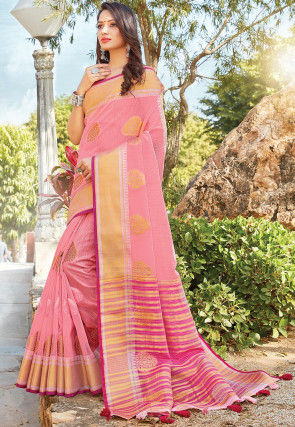 Woven Linen Cotton Saree in Pink